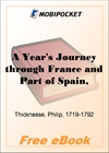 A Year's Journey through France and Part of Spain, Volume 1 for MobiPocket Reader