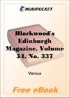 Blackwood's Edinburgh Magazine - Volume 54, No. 337, November, 1843 for MobiPocket Reader