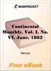 Continental Monthly, Vol. I, No. VI, June, 1862 for MobiPocket Reader