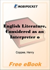 English Literature, Considered as an Interpreter of English History for MobiPocket Reader