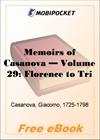 Memoirs of Casanova, Volume 29: Florence to Trieste for MobiPocket Reader
