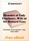 Memoirs of Lady Fanshawe for MobiPocket Reader