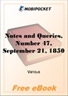 Notes and Queries, Number 47, September 21, 1850 for MobiPocket Reader