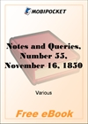 Notes and Queries, Number 55, November 16, 1850 for MobiPocket Reader