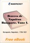 Oeuvres de Napoleon Bonaparte, Tome 1 for MobiPocket Reader