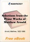 Selections from the Prose Works of Matthew Arnold for MobiPocket Reader