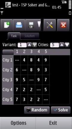 TSP Solver and Generator for Symbian
