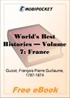 World's Best Histories - Volume 7: France for MobiPocket Reader